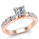 Engagement Rings for Women - Princess Cut Diamond 14K Gold  0.50 ct GIA Certificate - Rose Gold