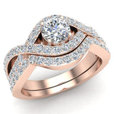 Intertwined Engagement Ring Set Shared Prong Diamond Setting 14K Gold (G,VS) - Rose Gold