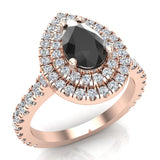 Pear Cut Black Diamond Double Halo Engagement Ring 14K Gold (G,SI) - Rose Gold