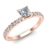 Petite Engagement rings for women Princess Cut diamond ring 18K Gold 0.65 carat (G,SI) - Rose Gold