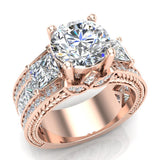 Moissanite Engagement Ring for Women 8.00 mm 5.35 carat Past Present Future Style 18K Gold (G,VS) - Rose Gold