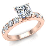 Engagement Rings for Women - Princess Cut Diamond 14K Gold  0.70 ct GIA Certificate - Rose Gold