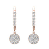 Circle Diamond Dangle Earrings Dainty Drop Style 14K Gold 1.31 ctw (I,I1) - Rose Gold