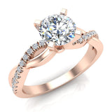 Twisting Infinity Diamond Engagement Ring 18K Gold 0.88 ctw (G,SI) - Rose Gold