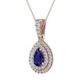 Pear Cut Sapphire Double Halo Diamond Necklace 14K Gold (G,SI) - Rose Gold