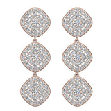 Cushion Halo Diamond Cluster Chandelier Earrings Waterfall Style 14K Gold (G,SI) - Rose Gold