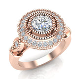 0.98 Carat Vintage Halo Solitaire Wedding Ring 14K Gold (G,I1) - Rose Gold