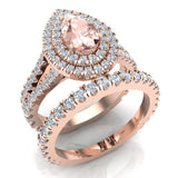 Pear Cut Pink Morganite Double Halo Wedding Ring Set 14K Gold (G,SI) - Rose Gold