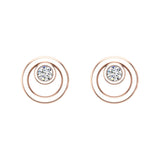 Diamond Earrings Circle Shape Studs Bezel Settings 10K Gold (J,SI2-I1) - Rose Gold