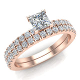 Petite Wedding Rings for women Princess Cut Bridal set 18K Gold 0.90 carat (G, SI) - Rose Gold