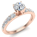 Diamond Engagement Ring with Accent Diamond Shank 14k Gold 0.85 ct (G,VS) - Rose Gold