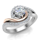 Ocean Wave Two-tone Promise Diamond Ring 14K Gold 0.75 Ctw (G,I1) - Rose Gold
