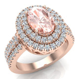 Oval Morganite Engagement Rings for Women 14K Gold Diamond Halo 2.65 carat (G,SI) - Rose Gold