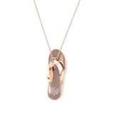 Flip Flop Sandals Diamond Charm Necklace 14K Solid Gold 0.04 ctw (I,I1) - Rose Gold