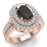 Black Diamond Engagement Rings for Women Oval Cut 14K Gold Diamond  Halo 2.65 carat (G,SI) - Rose Gold