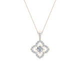 Floral Pattern Diamond Necklace 14K Gold (G,SI) - Rose Gold