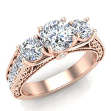 Diamond Engagement Rings for women 1.75 ctw Past Present Future Style 14K Gold (G, SI) - Rose Gold