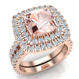 Pink Morganite Cushion Cut Double Halo Diamond wedding rings for women 14K Gold 3.80 ctw (G,SI) - Rose Gold
