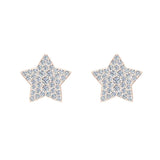 Star Shape Diamond Cluster Stud Earrings 0.50 ctw 18K Gold (G,VS) - Rose Gold