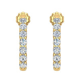 14K Gold Diamond Huggie Earrings For Women (I,  I1) - Yellow Gold