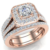 Round Cut Diamond Cushion Halo Split Shank Ring Set  w Enhancer Bands 14K Gold (G,VS2) - Rose Gold