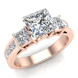 Past Present Future Princess Diamond Engagement Ring 1.81 ctw 14K Gold (G,I1) - Rose Gold