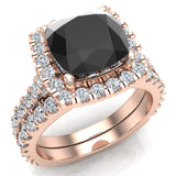 14K Gold Wedding Ring Set for Women Cushion Cut Black Diamond Halo Rings 3.28 carat (G,SI) - Rose Gold