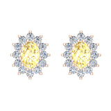 November Birthstone Yellow Citrine Diamond Stud Earrings Classic Oval Cut 14K Gold 1.50 cttw - Rose Gold