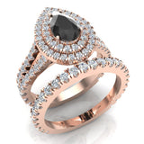 Pear Cut Black Diamond Double Halo Wedding Ring Set 14K Gold (G,SI) - Rose Gold