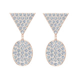 Diamond Dangle Earrings Oval Pattern Cluster Triangle Top 14K Gold 0.90 ctw (I,I1) - Rose Gold