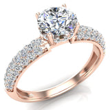 Glitz Design Trio Pave Three row Diamond Engagement Ring 14K Gold 1.20 ct (I,I1) - Rose Gold