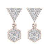 Hexagon Diamond Dangle Earrings 14K Gold (G,SI) - Rose Gold