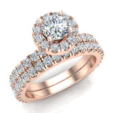 Petite Wedding rings for women Halo Round Brilliant Cut bridal set 18K Gold 1.50 carat (G, VS) - Rose Gold