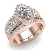 Statement Band Marquise Cut Halo Diamond Engagement Ring Baguettes 1.43 Carat Total 14K Gold (G,I1) - Rose Gold