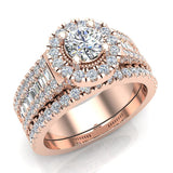 Round Cut Wedding Ring Set for Women 14K Gold Halo Bridal Rings Set Wide Shank 1.42 Ctw (G, I1) - Rose Gold