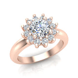 Classic Floral Halo Diamond Engagement Rings Round brilliant diamond ring 18K Gold 1.05 carat (G,SI) - Rose Gold