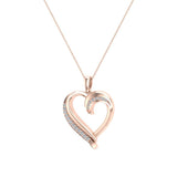 18K Gold Necklace Petite Heart Diamond Pendant Pave set ⅙ ctw (G,SI) - Rose Gold
