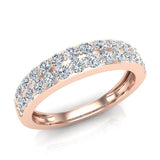Diamond Wedding Band matching to Two Row Solitaire Diamond Wedding Ring 14K Gold 0.70 carat (I,I1) - Rose Gold