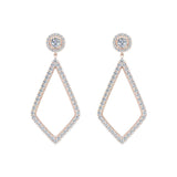 Magnificent Diamond Dangle Earrings delicate Kite Halo Stud 14K Gold (G,SI) - Rose Gold