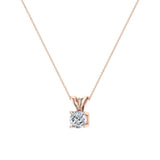 Round Brilliant Diamond Solitaire Pendant Necklace in 14K Gold (G,VS) - Rose Gold