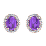 4.34 ct tw Amethyst & Diamond Cabochon Stud Earring In 14k Gold (G, I1) - Rose Gold