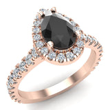 Pear Cut Black Diamond Halo Engagement Ring 14K Gold (I,I1) - Rose Gold