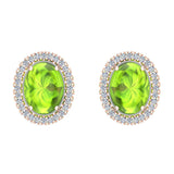 4.34 ct tw Green Peridot & Diamond Cabochon Stud Earring In 14k Gold (G, I1) - Rose Gold