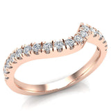 Waves Style Split Shank Diamond Halo Engagement Band 0.27 carat total 14K Gold (I,I1) - Rose Gold
