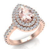 Pear Cut Pink Morganite Double Halo Engagement Ring 14K Gold (G,SI) - Rose Gold