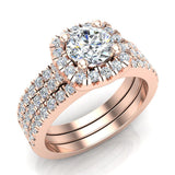 Luxury Round Cushion Halo Diamond Engagement Ring Set 14K Gold (G,I1) - Rose Gold