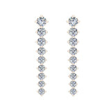 Bridal Journey Style Diamond Chandelier Earrings 18K Gold 3.52 ctw (G,VS) - Rose Gold