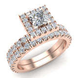 Petite Wedding rings for women Princess Cut halo bridal set 14K Gold 1.55 carat (I, I1) - Rose Gold
