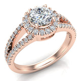 Split Shank Halo Diamond Ring 1.20 ctw Engagement Ring 14k Gold (G,VS) - Rose Gold