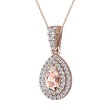 Pear Cut Pink Morganite Double Halo Diamond Necklace 14K Gold (G,SI) - Rose Gold